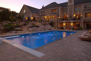 Pool side boulders