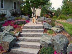 boulder stone walkway