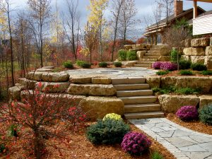 elevated patio boulders