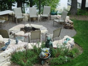 boulder fire pit with boulders